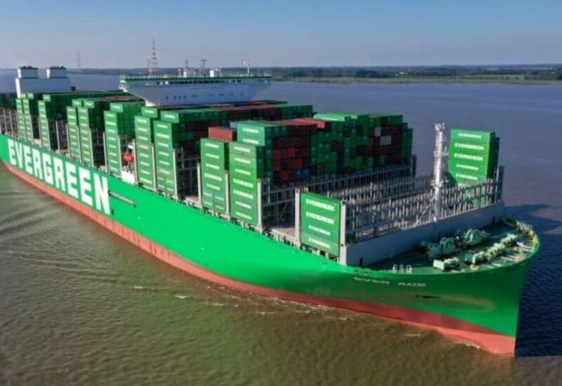 The Ever Ace - currently docked in Suffolk, in the UK - is a 400m-long (1,300ft) ship with a capacity of 23,992 containers, which is slightly more than other, similar-sized vessels. (Twiiter)