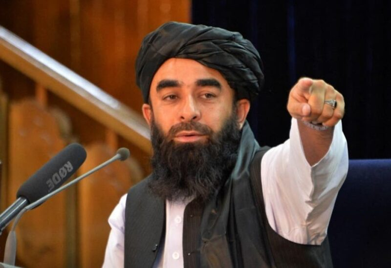 Taliban spokesperson Zabihullah Mujahid gestures during a press conference in Kabul on August 24, 2021 after the Taliban stunning takeover of Afghanistan. (AFP)