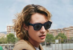 This undated image recived by AFP on Septemner 8, 2021, courtesy of Ray-Ban and Facebook, shows a model wearing smart glasses by Facebook and Ray Ban. (AFP)