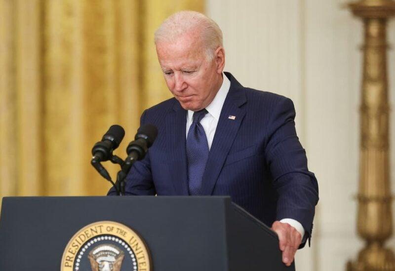 President Joe Biden looks down as he delivers remarks on Afghanistan, Aug. 26, 2021. (Reuters)