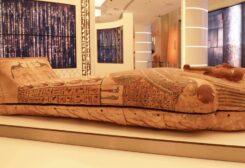 The coffin of priest Psamtik, 'the son of Pediosir' is one of the colored wooden coffins that were recently discovered in the newly-discovered well in the sacred area of Saqqara. (Supplied)