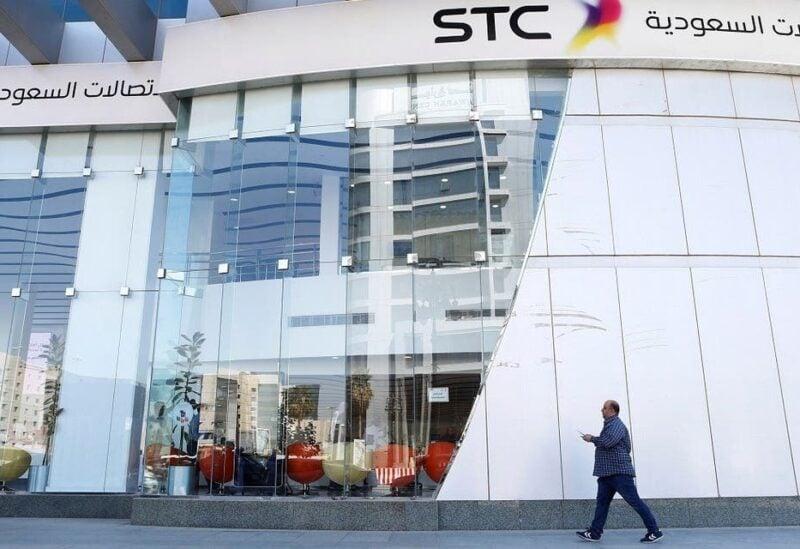 A man passes the Saudi Telecom STC office in Riyadh, Saudi Arabia February 6, 2018. (Reuters/Faisal al-Nasser)