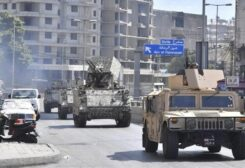 Military vehicles of the army in Tayouneh