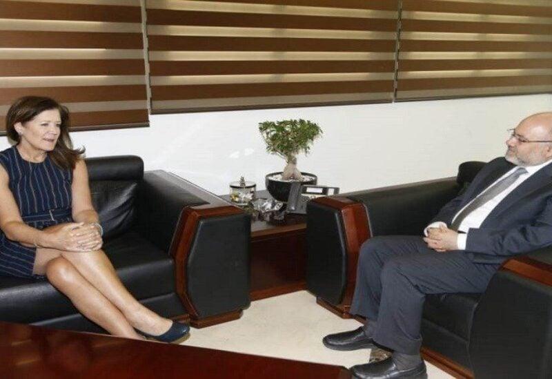 Us Amdassador Dorothy Shea and Lebanese Minister of Health, Firas Abyad